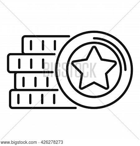 Jackpot Token Icon Outline Vector. Casino Poker. Chip Blackjack