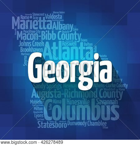List Of Cities In Georgia Usa State, Map Silhouette Word Cloud Map Concept