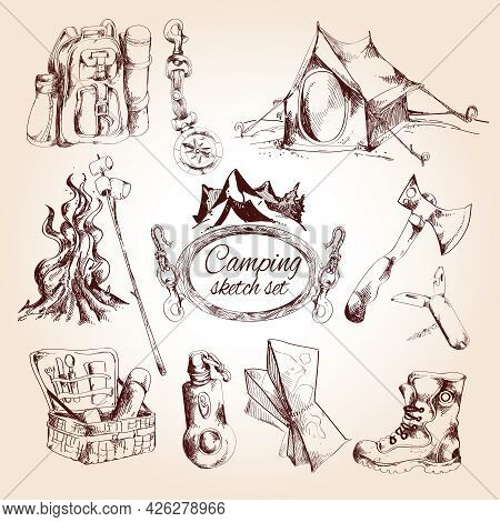 Camping Sketch Set With Tent Campfire Tourist Map Isolated Vector Illustration