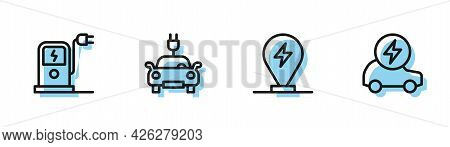 Set Line Charging Parking Electric Car, Electric Charging Station, And Icon. Vector
