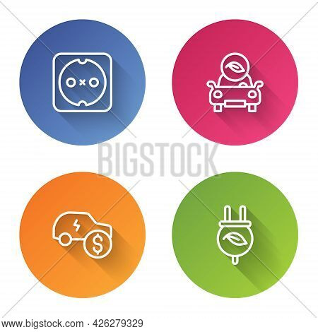Set Line Electrical Outlet, Eco Car, Price And Saving Plug In Leaf. Color Circle Button. Vector