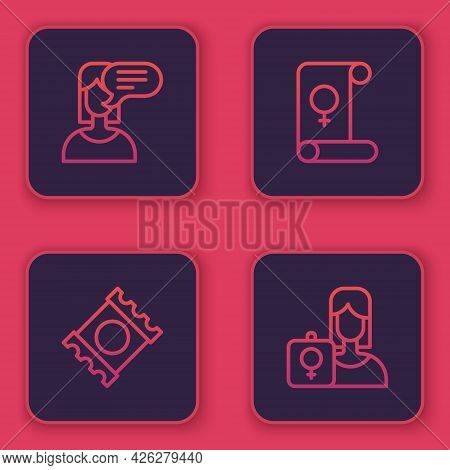Set Line Female Opinion, Condom Package, Feminism And Feminist Activist. Blue Square Button. Vector