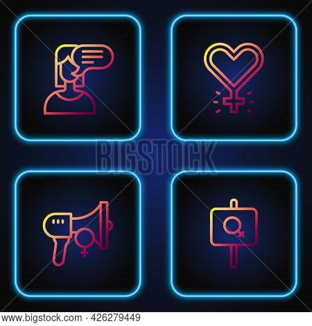 Set Line Feminist Activist, Female Opinion And Feminism. Gradient Color Icons. Vector