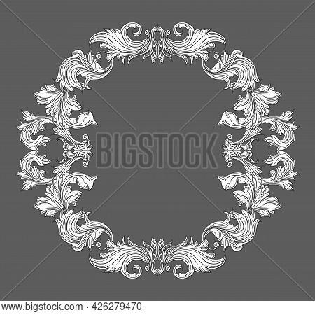 Vintage Baroque Frame Border With Leaf Scroll Floral Ornament In Line Style. Frame Floral, Decorativ