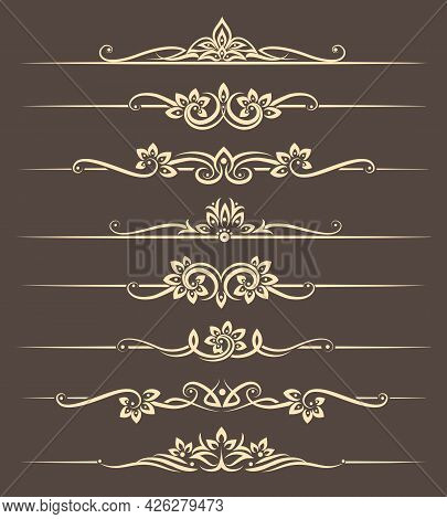 Calligraphic Design Elements, Page Dividers With Thai Ornament. Divider Ornament Page, Ornate Vector