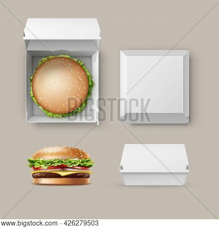 Vector Set Of Realistic Empty Blank White Carton Package Box Container For Branding With Hamburger C