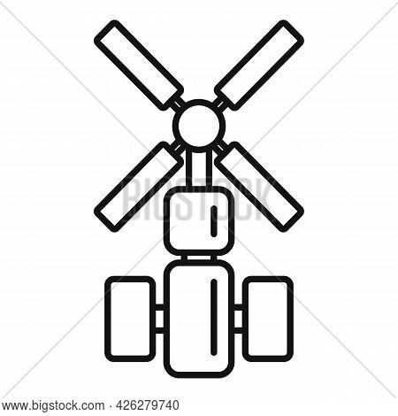 Cosmos Space Station Icon Outline Vector. Spacecraft Ship. International Space Station