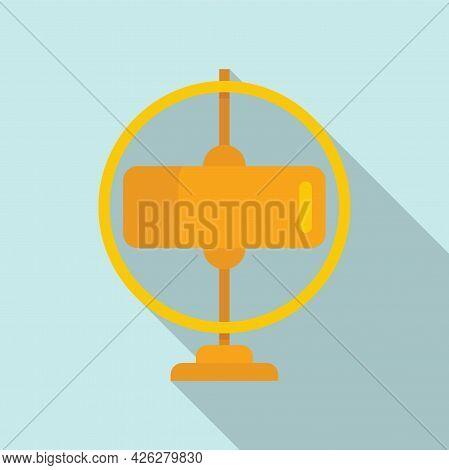 Gyroscope Stand Icon Flat Vector. Sensor Momentum. Gravity Accelerometer