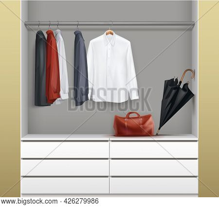 Vector Open White Wardrobe With Drawers, Red, Black,blue Shirts, Umbrella And Bag Front View Isolate