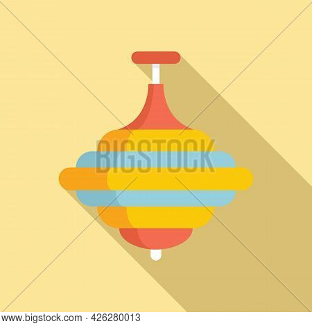 Whirligig Toy Icon Flat Vector. Top Spinning Game. Child Whirligig