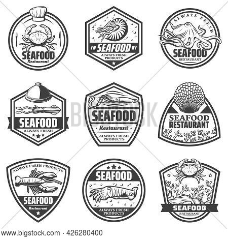 Vintage Monochrome Seafood Labels Set With Crab Shrimp Octopus Squid Cuttlefish Seashells Lobster Is