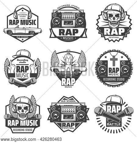 Vintage Monochrome Rap Music Labels Set With Rapper Microphones Headphones Car Loudspeaker Boombox C