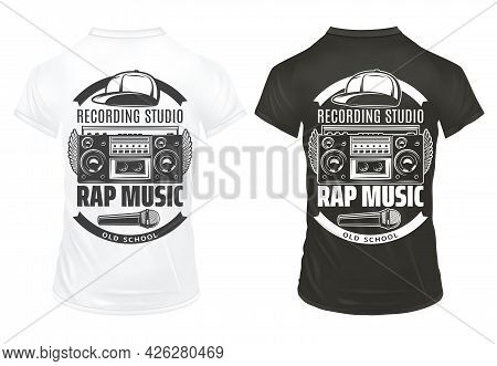 Vintage Rap Music Prints Template With Inscriptions Recorder Microphone Cap On Black And White Shirt