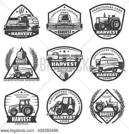 Vintage Monochrome Agricultural Machinery Labels Set With Combines Harvesting Vehicles Loader Tracto