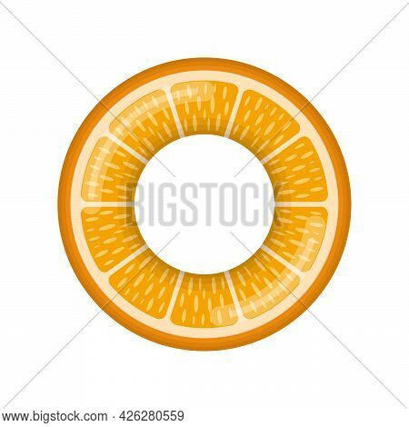 Inflatable Swimming Ring Looking Like Citrus Orange Isolated On White Background, Rubber Float Pool