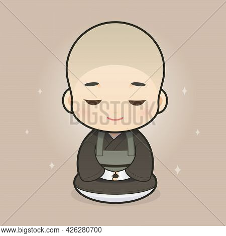 Cartoon Japanese Buddhist Priests. Vector Illustration In Cartoon Character Design