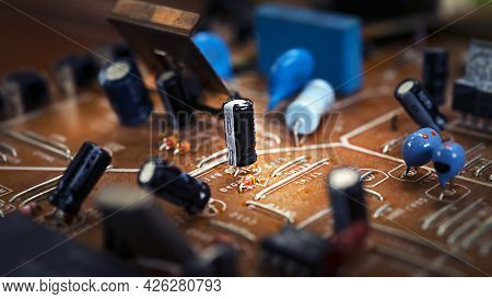 Old Broken Brown Microcircuit Close-up, Old Technology