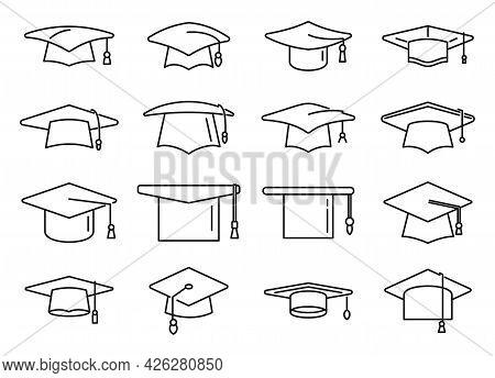Academy Graduation Hat Icons Set Outline Vector. School Celebration. University Cap