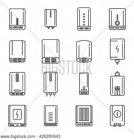 Power Bank Charger Icons Set Outline Vector. Alternative Battery. External Accumulator