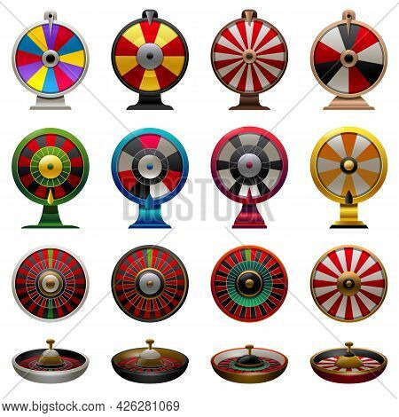 Roulette Icons Set Cartoon Vector. Fortune Wheel. Spin Lucky Game