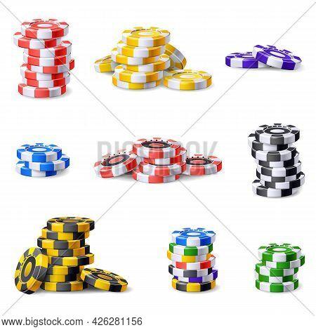 Casino Chips Icons Set Cartoon Vector. Poker Chip. Vegas Casino Chips