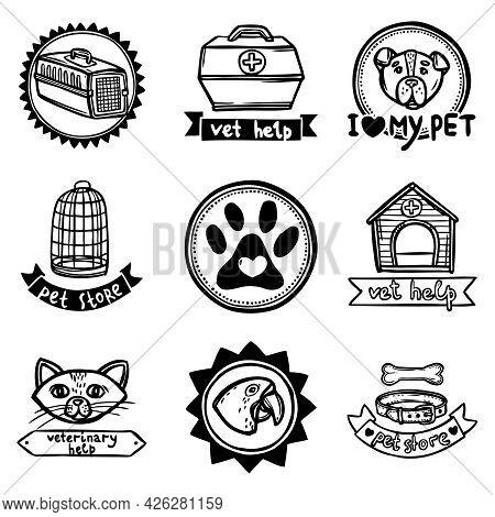 Veterinary Vet Help Pet Store Sketch Emblems Set Isolated Vector Illustration