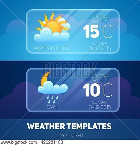 Weather Forecast Widget Meteorology And Climate Mobile Application Software Layout Template Vector I