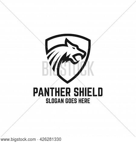 Black Panther Logo Design Vector, Animal Defender With Line Art Logo Inspirations