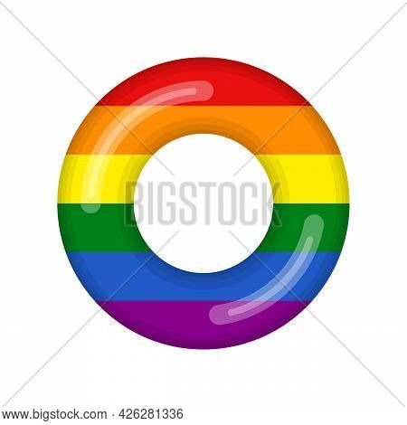 Inflatable Swimming Ring Looking Like Lgbt Flag Isolated On White Background, Rubber Float Pool Life