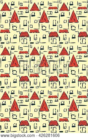 Urban Landscape Vector Seamless Pattern. City, Sea Resort With Red Roofs. Hand Drawn Sketch Style Il