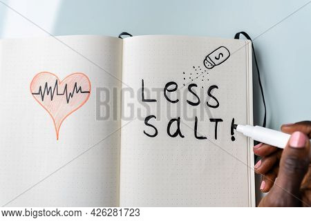 Blood Pressure And Hypertension. Eat Less Salt And Low Sodium Diet