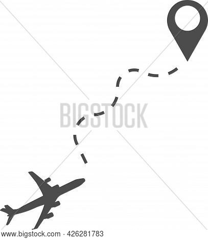 Vector Illustration Of An Airplane Flying To Its Destination.