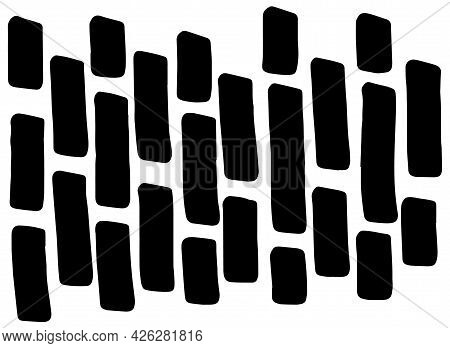 Vector Texture Of Drawn Marker Strokes, Lines. Monochrome Marker Elements Are Short Wide Vertical Pa