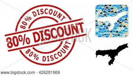 Weather Collage Map Of Assam State, And Rubber Red Round 80 Percent Discount Stamp Seal. Geographic