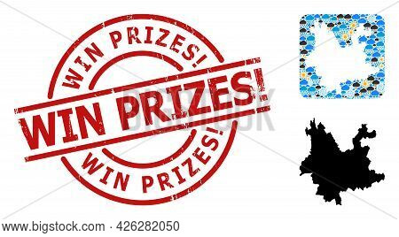 Weather Mosaic Map Of Yunnan Province, And Distress Red Round Win Prizes Exclamation. Seal. Geograph