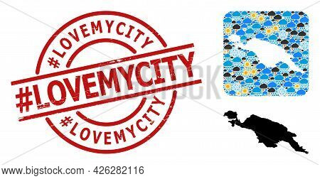 Climate Pattern Map Of New Guinea Island, And Textured Red Round Hashtag Lovemycity Stamp Seal.