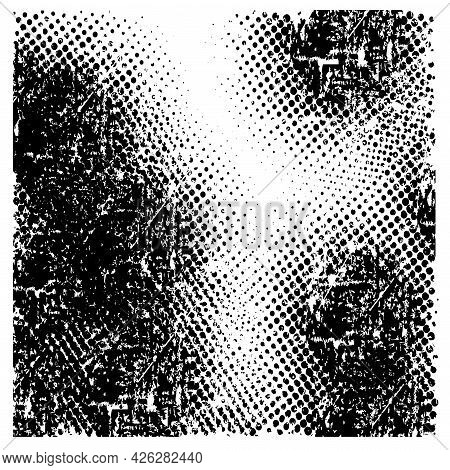 Grunge Halfton Background, Shabby Black Texture, Design Flat Style Vector Illustration Isolated, Whi