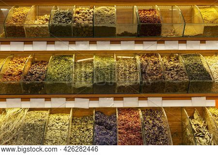 Lots Of Spices In Stock In The Store. Oriental Spices.