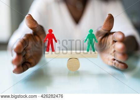 Equal Balance And Pay. People Equality And Parity