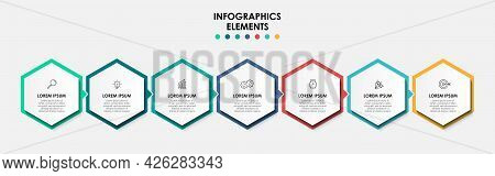 Vector Infographic Design Business Template With Icons And 7 Options Or Steps. Can Be Used For Proce