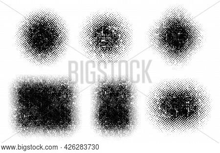 Set Abstract Grunge Halfton Black Color, Design Flat Style Vector Illustration, Isolated On White.