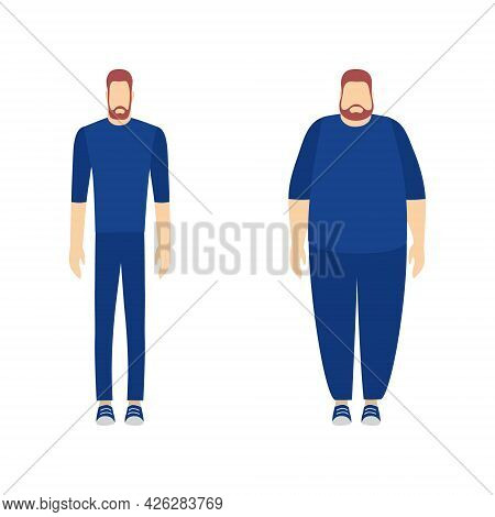 Fat And Slim Man. Weight Loss And Getting Fat Concept. View Before And After Diet And Sport. Flat Ch