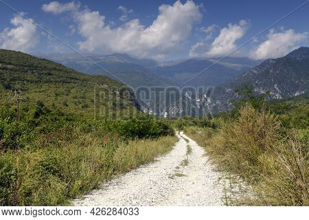Mountains Forest And Footpath On A Summer, Sunny Day (central Macedonia, Greece)