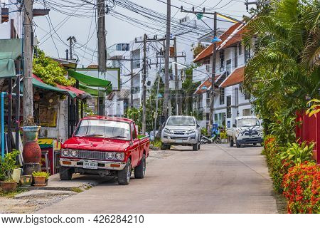 Red Vintage Car Fishermans Village Bo Phut Koh Samui Thailand.
