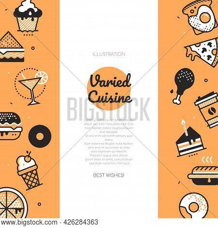 Varied Cuisine - Vector Line Design Style Poster