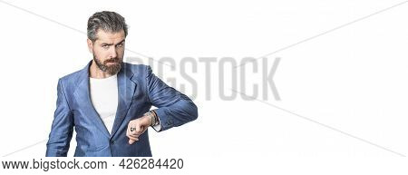 Businessman Checking Time From Watch. Business Man Showing Time On His Wrist Watch. Hand In With Wri
