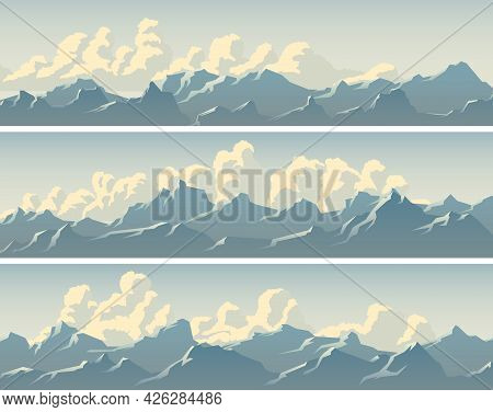 Set Of Vector Horizontal Simple Banners With Clouds And Snowy Mountain Range Glistens In The Sun.