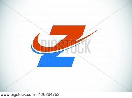 Initial Letter Z With Swoosh, Red And Blue Logo Template. Modern Vector Logotype For Business And Co