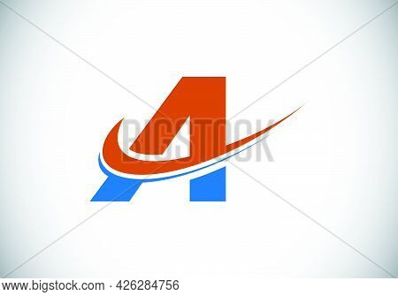 Initial Letter A With Swoosh, Red And Blue Logo Template. Modern Vector Logotype For Business And Co