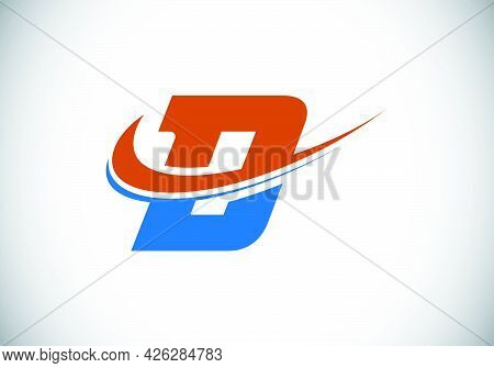Initial Letter D With Swoosh, Red And Blue Logo Template. Modern Vector Logotype For Business And Co